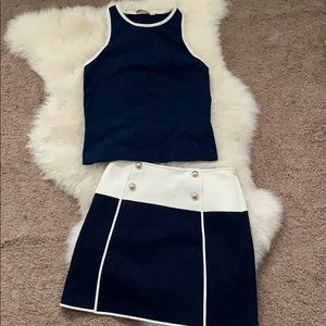 Tory Burch racerback tank and mini skirt set XS